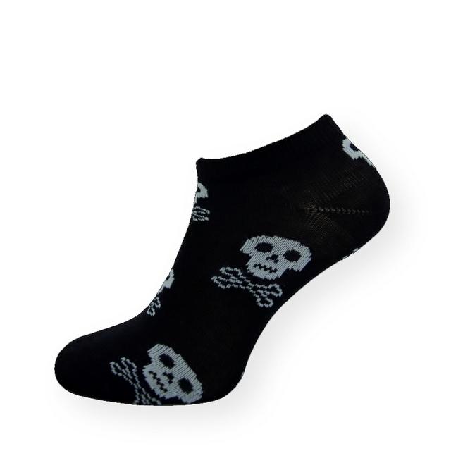 Ponožky.cz   Detail produktu Stylové černé nízké ponožky s lebkami ... 2b863e6a96