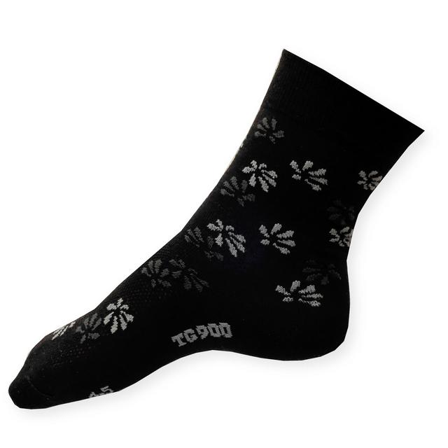 Dámské černé ponožky Moira PO/TG2 šedé kytičky