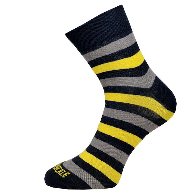 Pánské ponožky se širšími modro-žluto-šedými pruhy