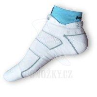 Běžecké ponožky Moira bílé-tyrkysové PO/RU