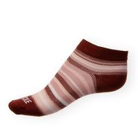 Dámské kotníkové ponožky Phuseckle Summerline vínovo-bílé pruhy